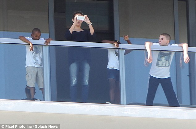 Family affair: Madonna was joined in Miami by her four children, Lourdes, 16, Rocco, 12, David, seven, and Mercy, six