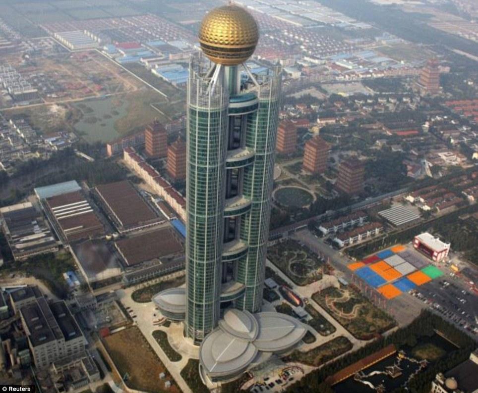A skyscraper in Huaxi village