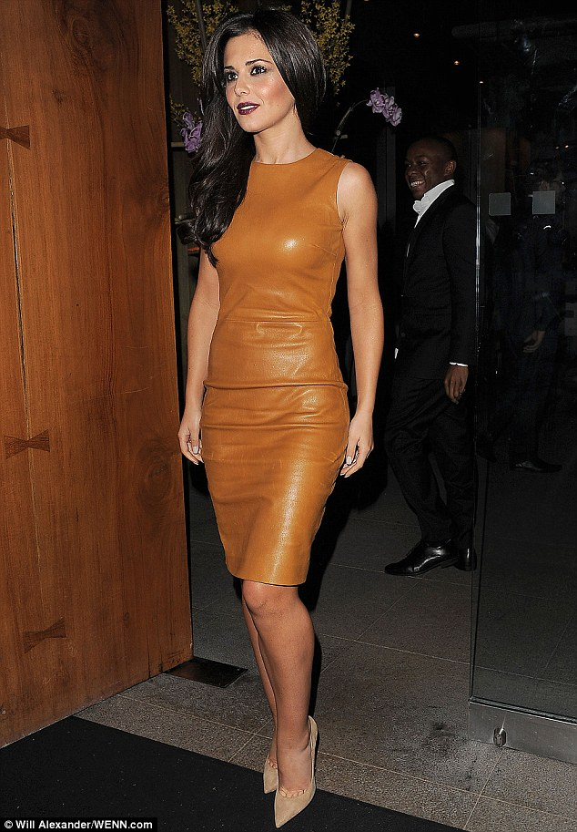 Hell for leather: Cheryl Cole looked incredible in a form-fitting tan leather dress as she attended Kimberley's birthday celebrations at upmarket Zuma restaurant