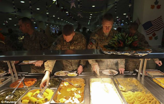 The works: Soldiers have a selection of all their Thanksgiving Day favorites to choose from