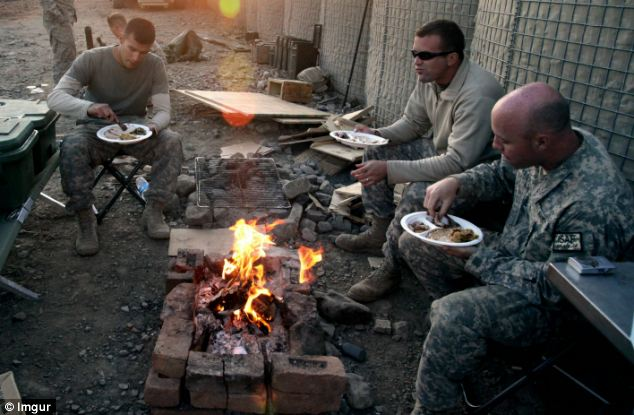 Soldiers throughout Afghanistan celebrate Thanksgiving Day however best they can