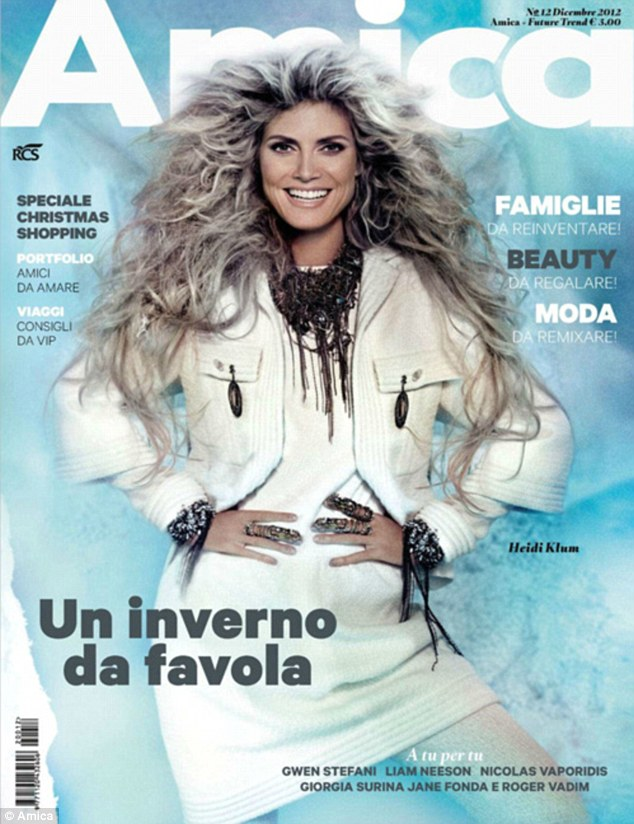 Wild thing: Heidi Klum sports grey and matted hair extension as she poses on the front cover of Italian magazine Amica