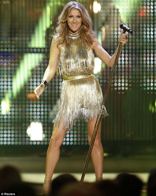 Acceptance speech: Celine changed into a shimmering dress to collect her award during the Dusseldorf ceremony
