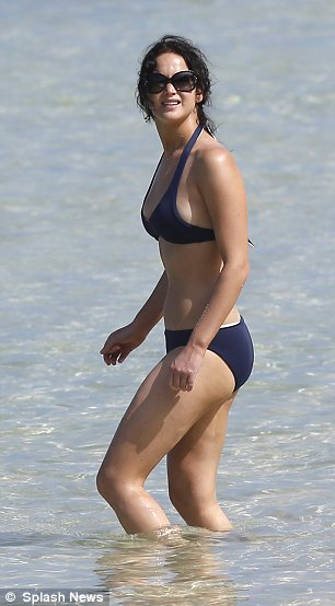 Enviable shape: While Jennifer claims that Hollywood sees her as 'fat' she proved she is far from it as she enjoyed a dip in the sea