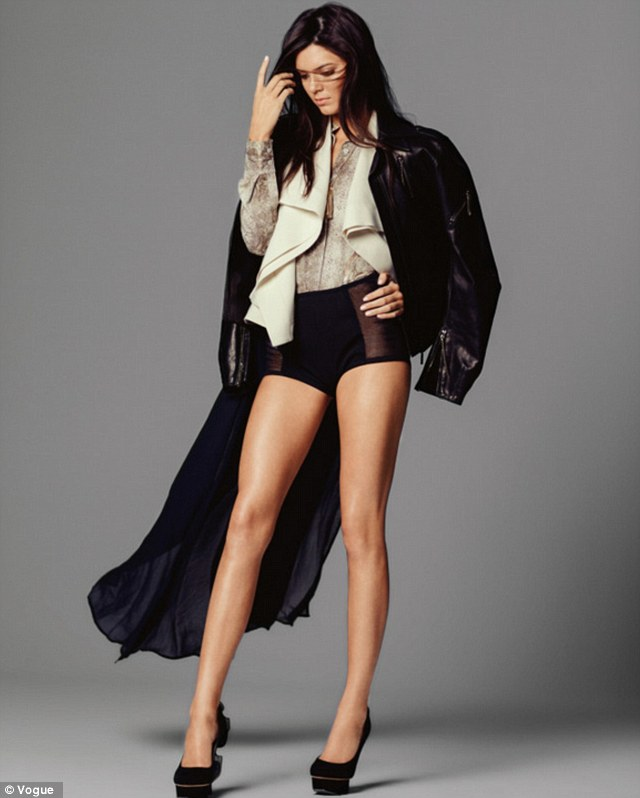She's in fashion: Kendall Jenner shows off her svelte figure and model good looks on the cover of Australian Miss Vogue