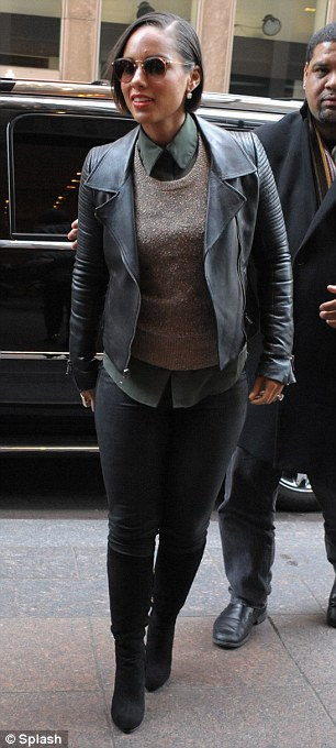 v=After the show: The mother-of-one is doing the rounds promoting her fifth album Girl On Fire and looked chic in her post performance ensemble of leather trousers and jacket