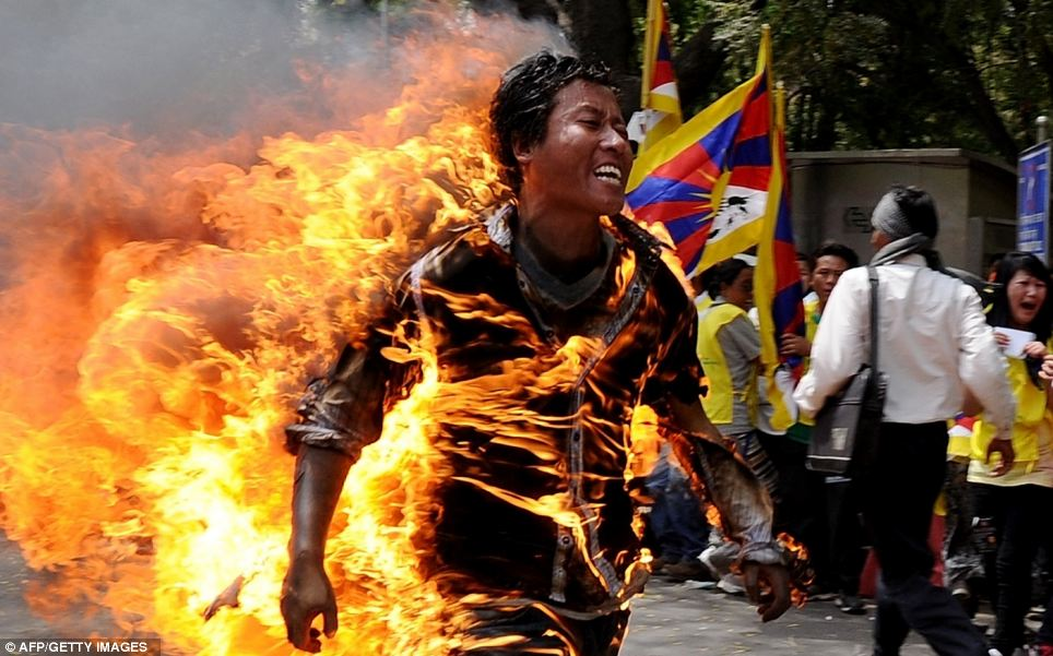 Tibetan exile Jamphel Yeshi, 27, set himself on fire in March during a rally in New Delhi to protest against an upcoming visit to India by Chinese President Hu Jintao