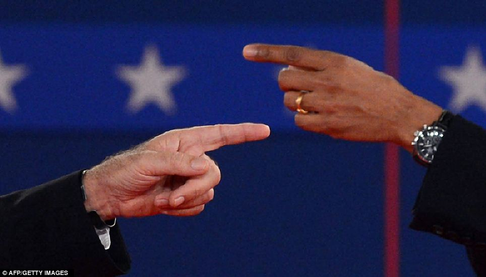 President Obama, right, and Mitt Romney, left, during the second presidential debate in October