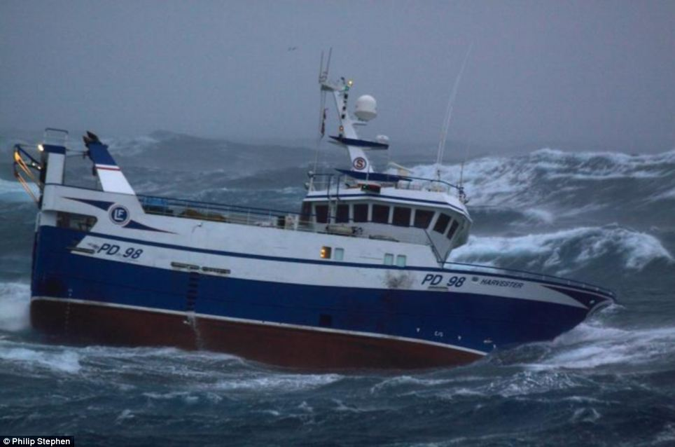 North Sea Trawlermen Fishing Boat Battered By Waves As