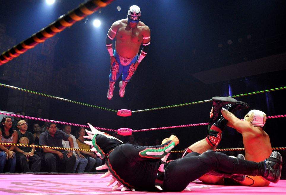 Wrestlers perform during the Lucha Va Voom's Cinco de Mayan show at the Mayan Theatre in downtown Los Angeles