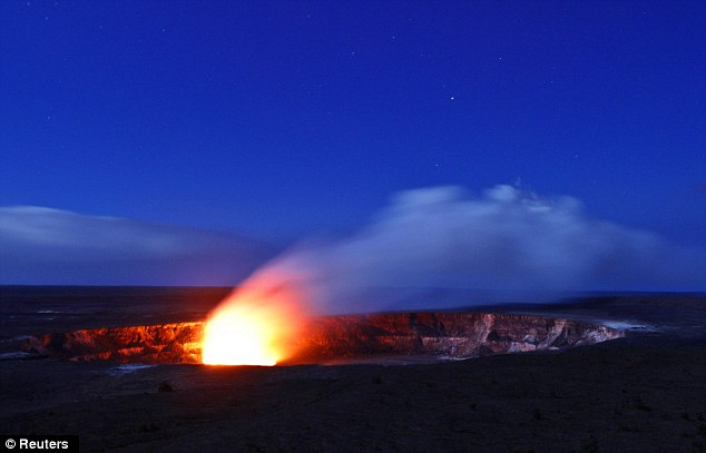 Molten masterpiece: A plume of smoke rises from Kilauea crater in Volcanoes National Park in Volcano, Hawaii