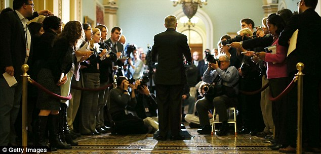 Press call: Senate majority leader Harry Reid met reporters yesterday to bemoan the lack of progress in negotiations