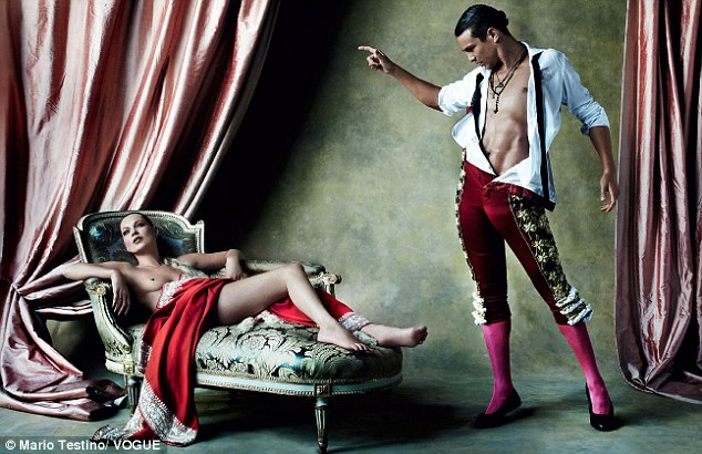 Still pushing boundaries: Kate Moss also went topless for a fashion shoot as she posed for Mario Testino for the latest Vogue Spain