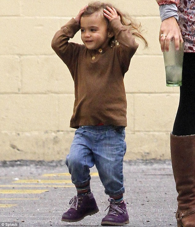 Cutie pie: Little Vida looked very excited to join her mother Camila and visit father Matthew McConaughey on the set