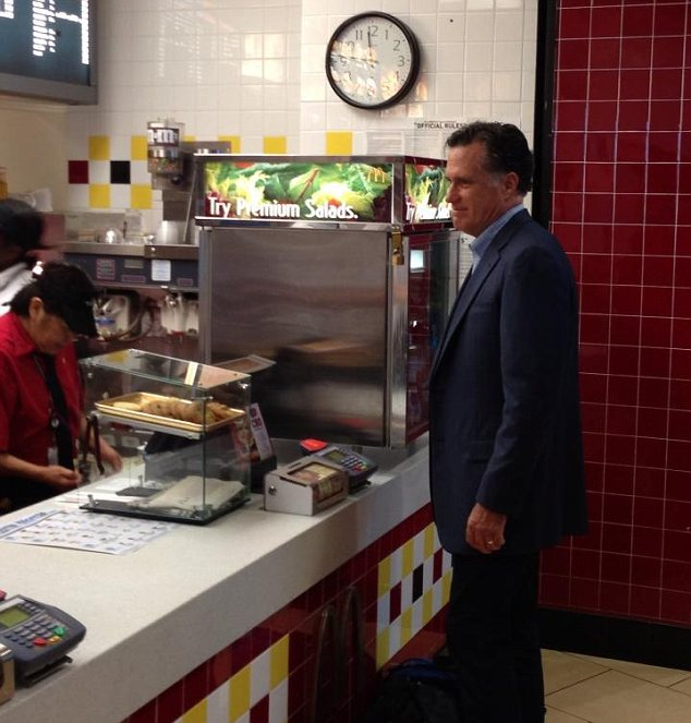 Snack: Mitt Romney was seen ordering a McFlurry milkshake at a branch of McDonald's