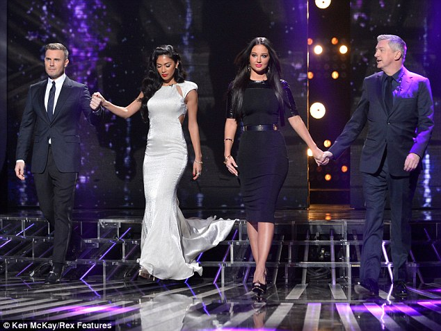 Facing the boot? The current UK X Factor panel (L-R) Gary Barlow, Nicole Scherzinger, Tulisa Contostavlos and Louis Walsh