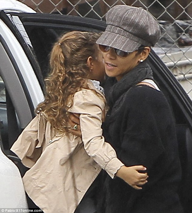 On the school run: Halle Berry will apparently pay all of Gabriel Aubry's medical and legal bills stemming from his fight with her fiance Olivier Martinez, pictured on Friday in Los Angeles taking Nahla to school