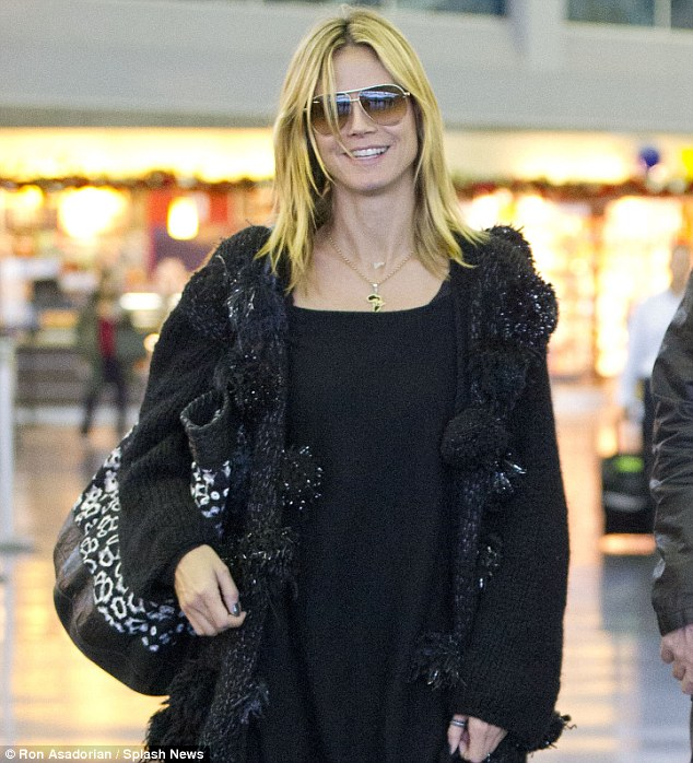 So pretty: Heidi was glowing despite her six hour fight from Los Angeles