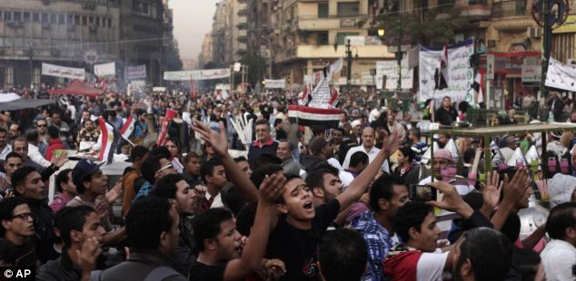anti morsi and muslim brotherhood demo against the dictatorship and power grab by islamonazi's Protest: liberal opponents of President Morsi took to the streets yesterday angry at his decision to grant himself sweeping new powers