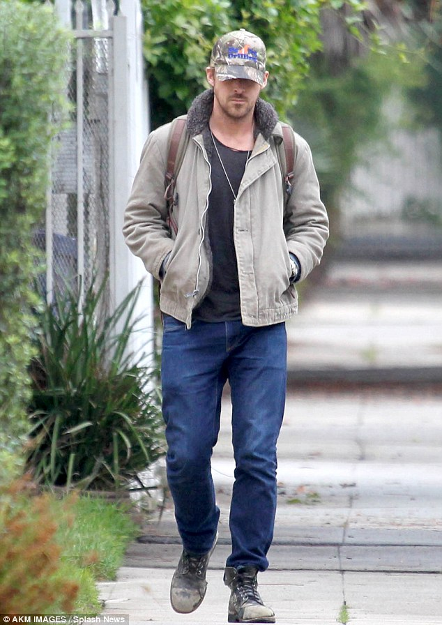 Out and about: Ryan spent the day wandering around Los Angeles on Thursday