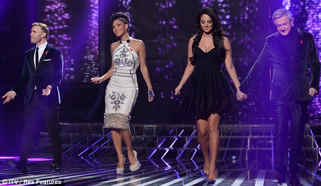Fierce foursome: The judges looked stylish as they stepped out onto the stage at the London studios on Saturday night