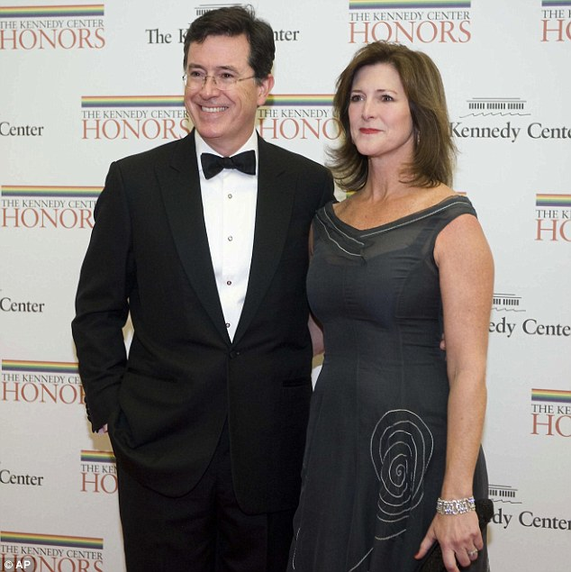 More famous guests: Satirist and political commentator Stephen Colbert and his wife Evelyn