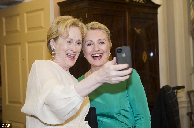 All smiles: The women, looking lovely, seem to enjoy each others company at the Washington event