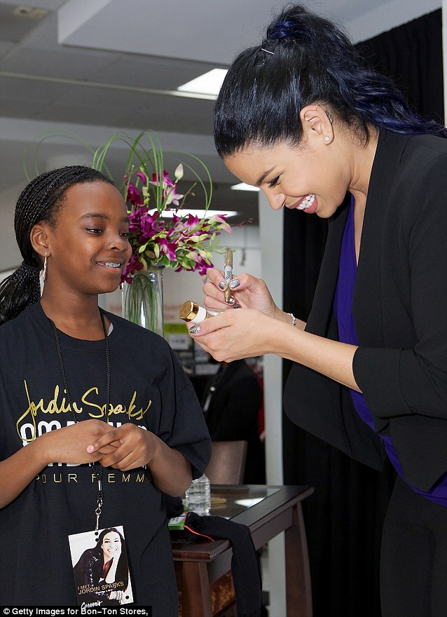 All-smiles: Jordin was grinning as she met up with her admirers