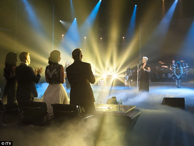 Another ovation: The X Factor judges all stood up and applauded the amazing talent of P!nk