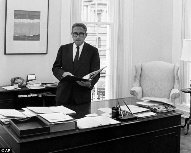 Secret: Henry Kissinger in the 1970s in his White House office in Washington. He gave advice to a secret network made up of old Nazis and elite aristocrats