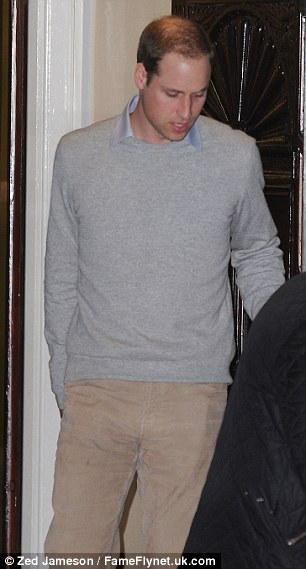 Prince William leaves the King Edward VII Hospital this evening after being by the side of his wife