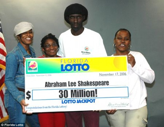 Victim: Florida lottery winner Abraham Shakespeare, centre, was killed three years after winning $30 million