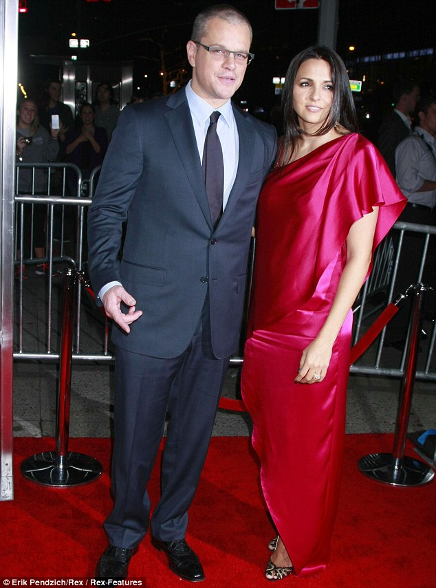 Lady in red: Matt Damon may have looked dapper but he was overshadowed by wife Luciana at the premiere of new film Promised Land on Tuesday evening