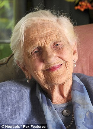 Dame Elisabeth Murdoch who died today is pictured at her home at Cruden Farm in Langwarrin, Victoria ahead of her 100th birthday celebrations