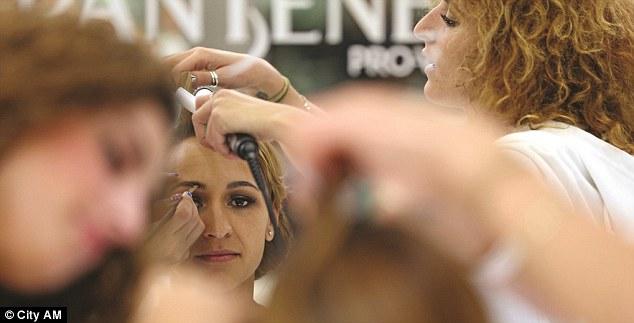 Model behaviour: Ennis having her hair and make-up done for the Bespoke magazine photo shoot