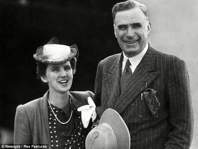 Devoted: Taken in January 1942 this photo shows Elisabeth Murdoch with her husband Sir Keith Murdoch arriving at Essendon aerodrome in Melbourne. She was distraught when Keith died in 1952