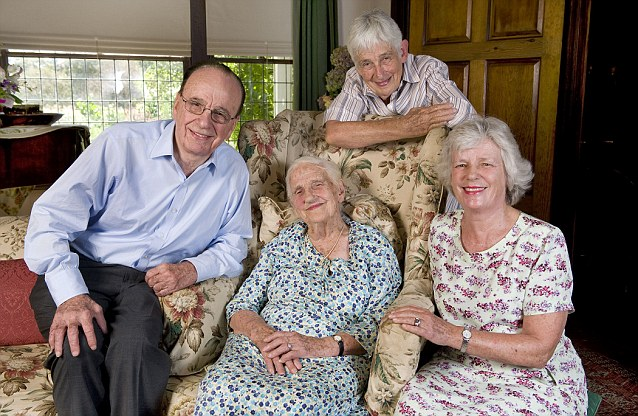 Powerful family: Dame Elisabeth Murdoch poses with her children (L-R) Rupert Murdoch, Anne Kantor and Janet Calvert-Jones during her 100th birthday celebrations at her home at Cruden Farm in Langwarrin, Victoria