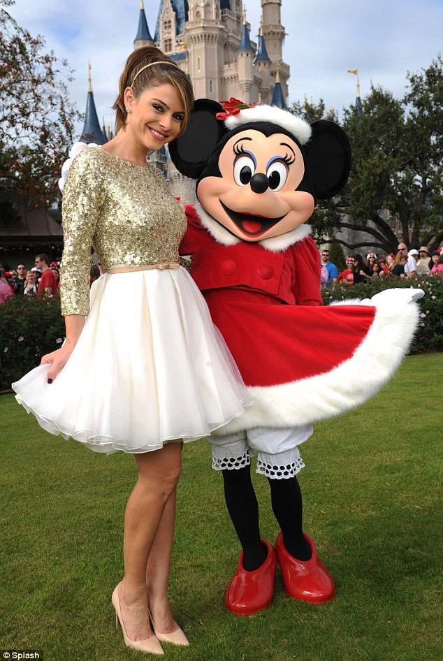 So cute: Maria loved meeting Minnie Mouse, but tweeted that she was thrilled to meet her childhood favourite Goofy