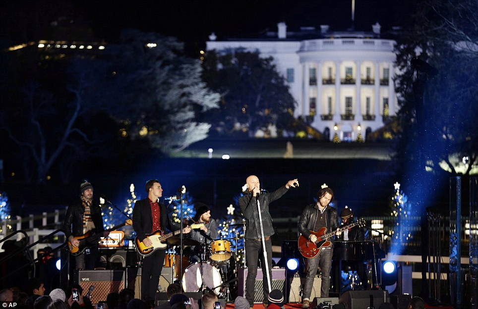 How to save a life: The Fray performed during the 90th annual National Christmas Tree Lighting ceremony on the Ellipse south of the White House