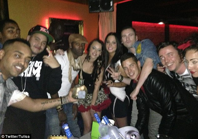Big night: Tulisa shared a picture from her big night out on Thursday evening before revealing she was 'in bits' on Friday