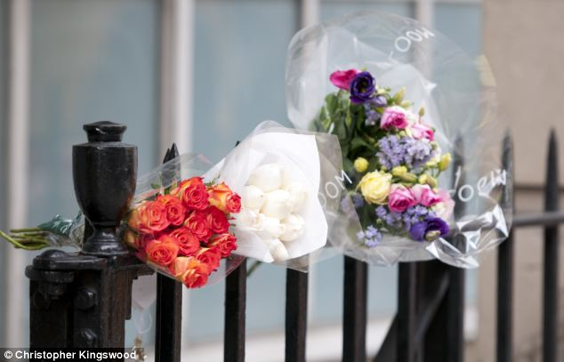 Tributes: Flowers were left outside the nurses quarters at the King Edward VII hospital