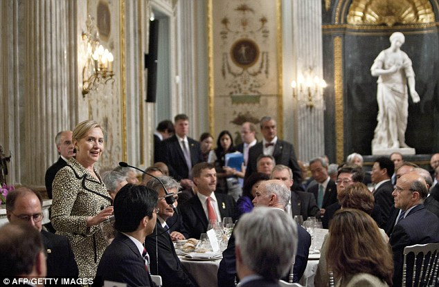 U.S Secretary of State Hillary Clinton makes a speech at a dinner held by the U.S embassy in Paris last year