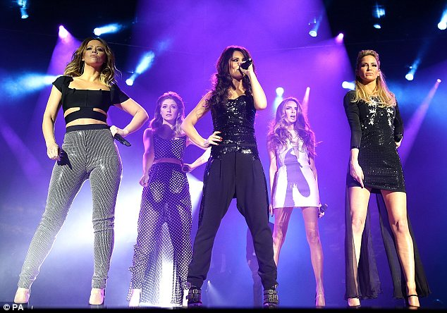 Taking centre stage: After a quick outfit change the girls took to the stage to perform a number of their tracks