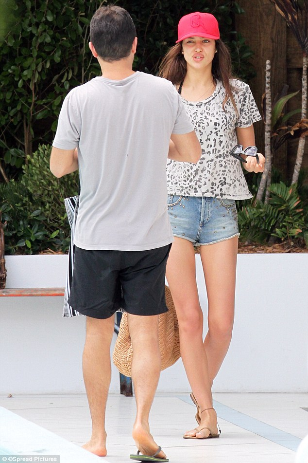 Wild thing: Later in the day Irina slipped on a leopard print T-shirt
