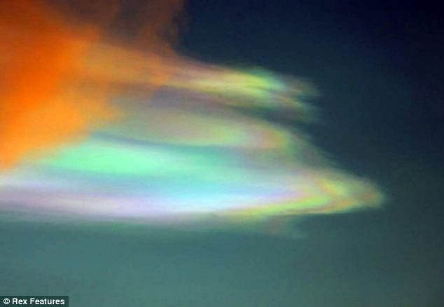 This unusual cloud was spotted over the north east of Scotland due to a chemical reaction 50 miles above the Earth's surface