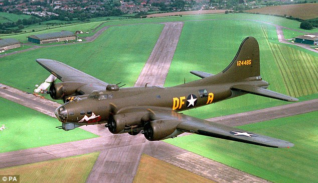 A B-17 bomber similar to the one flown by charlie Brown in his bombing mission over Germany