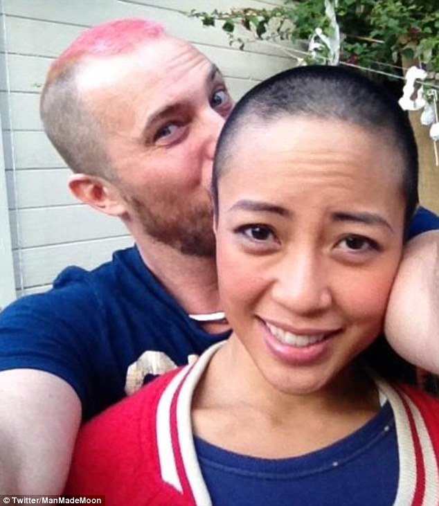 Brave: Duncan Jones and his wife Rodene Ronquillo shaved their heads in preparation for her chemotherapy treatment