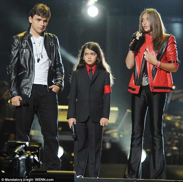 Famous trio: Prince, 15, Blanket, and Paris' grandfather Joe Jackson was recently rushed to the hospital after suffering a mild stroke in Las Vegas on November 30, but he is said to be doing fine now