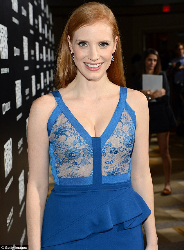 Not nearly nude: Jessica Chastain's dress at the premiere of her new film Zero Dark Thirty looked see-through