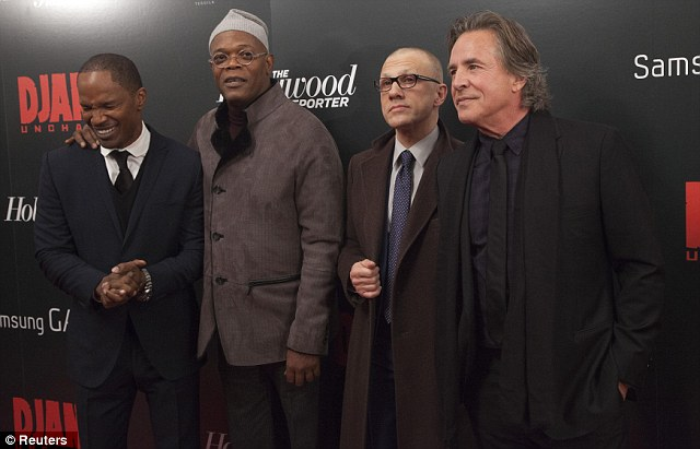 Strike a pose: Foxx, Jackson, Christolph Waltz and Don Johnson were among the star-studded cast at the premiere